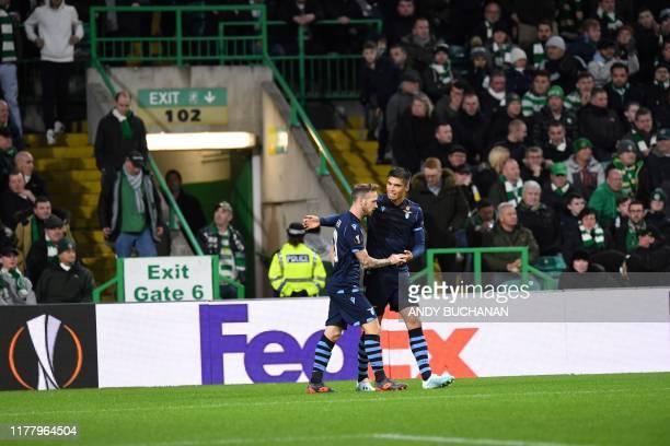 Lazio's Italian midfielder Manuel Lazzari celebrates scoring the opening goal during the UEFA Europa League group E football match between Celtic and...