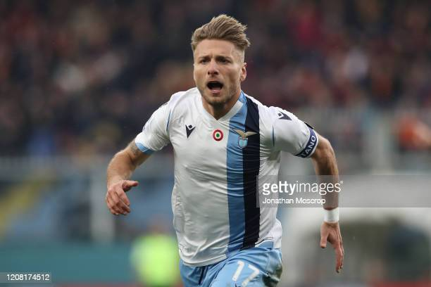 Lazio's Italian striker Ciro Immobile celebrates after scoring to give the side a 20 lead during the Serie A match between Genoa CFC and SS Lazio at...