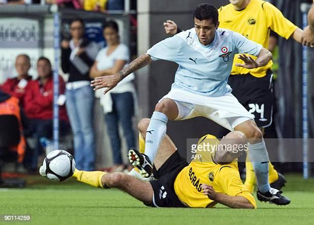 Lazio's Marta Da Silva runs over Elfsborg's Teddy Lucic, during the UEFA Europa League playoff second leg football match between Swedish team...