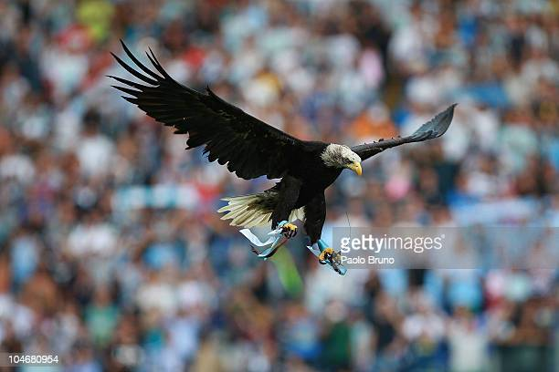 Lazio's mascot eagle Olimpia flies over the field of Stadio Olimpico before the Serie A match between SS Lazio and Brescia Calcio at Stadio Olimpico...