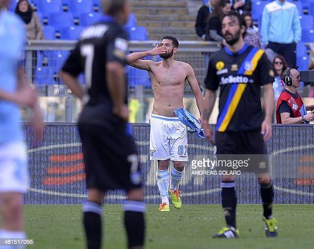 Lazio's midfielder Antonio Candreva celebrates after scoring during the Italian Serie A football match on March 30 2014 at Rome's Olympic stadium AFP...