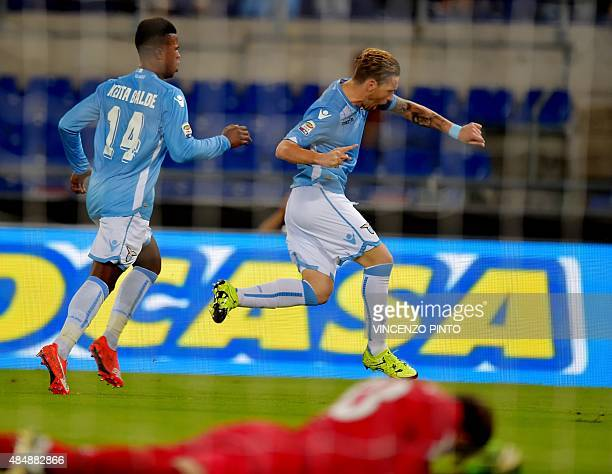 Lazio's midfielder from Argentina Lucas Biglia celebrates after scoring against Bologna during the Italian Serie A football match Lazio vs Bologna...