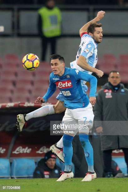 STADIUM NAPLES CAMPANIA ITALY Lazio's midfielder from Bosnia and Herzegovina Senad Lulic fights for the ball with Napoli's Spanish striker Jose Maria...