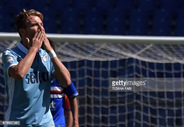 Lazio's midfielder from Italy Ciro Immobile celebrates after scoring a penalty during the Italian Serie A football match Lazio vs Sampdoria at the...