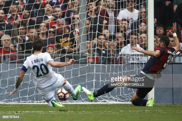 Lazio's midfielder Lucas Biglia from Argentina scores during the Italian Serie A football match Genoa Vs Lazio on April 15 2017 at the 'Luigi...
