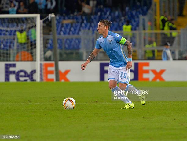 Lazio's midfielder Lucas Biglia kicks the ball during the Europe League football match SS Lazio vs AS Saint��tienne at the Olympic Stadium in Rome on...