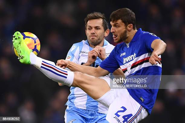 Lazio's midfielder Senad Lulic of Bosnia fights for the ball with Sampdoria's midfielder Bartosz Bereszynski from Poland during the Italian Serie A...