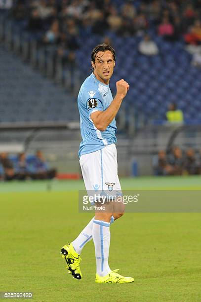 Lazio's midfielder Stefano Mauri gestures during the Europe League football match SS Lazio vs AS Saint��tienne at the Olympic Stadium in Rome on...