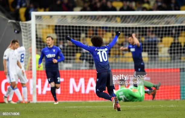 Lazios player Lucas Leiva scores during UEFA Europa League round 16 secondleg football match FC Dynamo Kiev vs SS Lazio Rome at the Olympiyski...