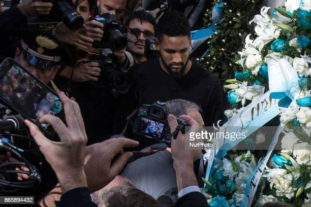 Lazio's player Wallace lay flowers at Rome's synagogue after a group of the club's ultras of Lazio used AntiSemitic stickers with the image of Anne...