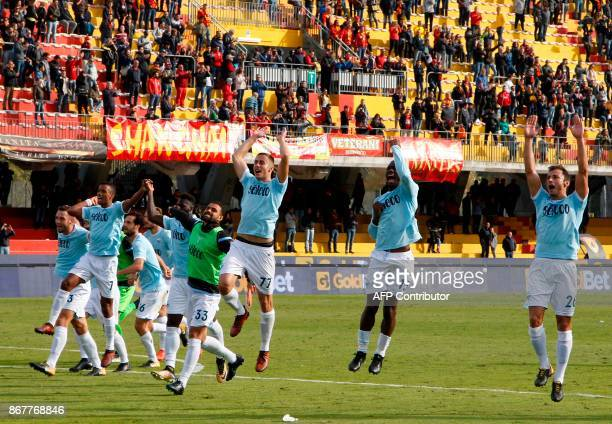 Lazio's players celebrate after winning 51 the Italian Serie a football match Benevento Calcio vs SS Lazio on october 29 2017 at the Ciro Vigorito...