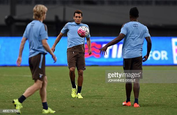 Lazio's Ravel Morrison and teammates attend a training session on the eve of the Italian Super Cup final football match between Juventus and Lazio in...