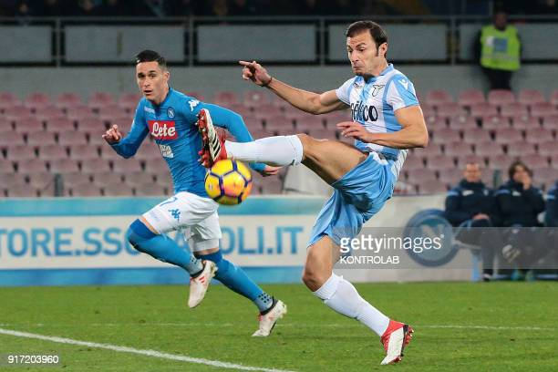 STADIUM NAPLES CAMPANIA ITALY Lazio's Romanian defender Stefan Radu controls the ball next to Napoli's Spanish striker Jose Maria Callejon during the...