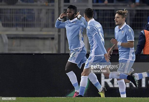 Lazio's Senegalese forward Balde Diao Keita celebrates with teammates after scoring a goal during the Serie A football match between Lazio and...
