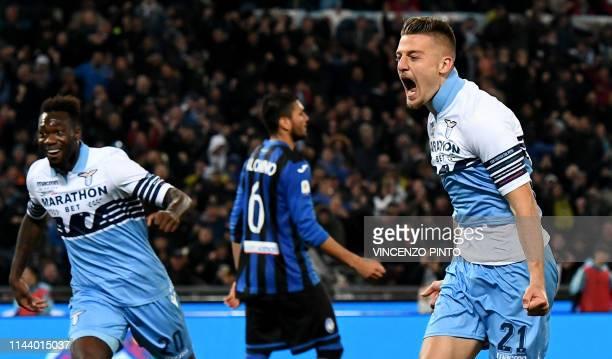 Lazio's Serbian midfielder Sergej Milinkovic-Savic celebrates after scoring a goal during the Coppa Italia final match between Lazio and Atalanta, on...