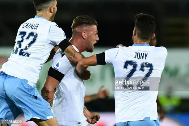 Lazio's Serbian midfielder Sergej Milinkovic-Savic celebrates after scoring during the Italian Serie A football match Atalanta vs Lazio played on...