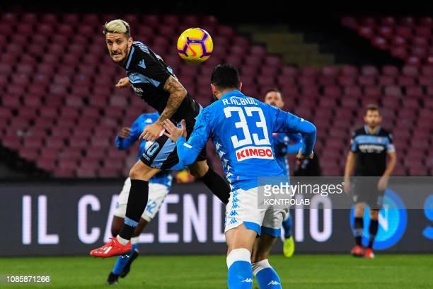 STADIUM NAPLES CAMPANIA ITALY Lazio's Spanish midfielder Luis Alberto heads the ball during the Italian Serie A football match SSC Napoli vs SS Lazio...