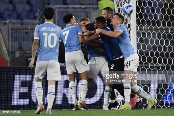 Lazio's Spanish midfielder Luis Alberto, Lazio's Brazilian midfielder Felipe Anderson, Lazio's Italian forward Ciro Immobile, Inter Milan's Dutch...