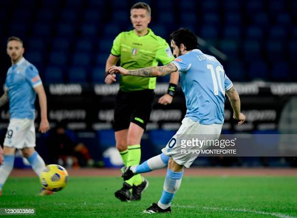 Lazio's Spanish midfielder Luis Alberto shoots to score his second goal during the Italian Serie A football match Lazio Rome vs AS Rome on January...