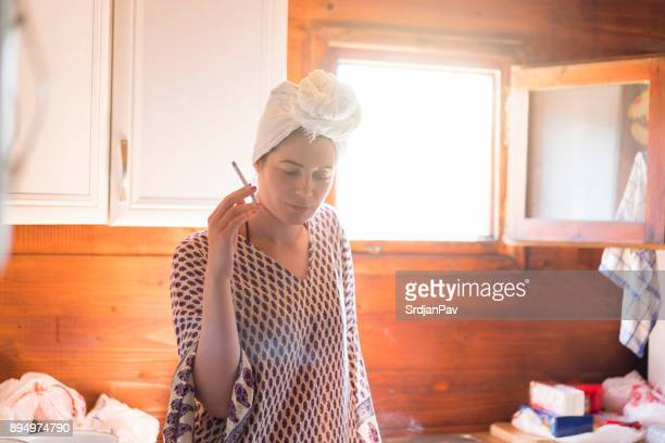 lazy housewife - hangover after party stock pictures, royalty-free photos & images