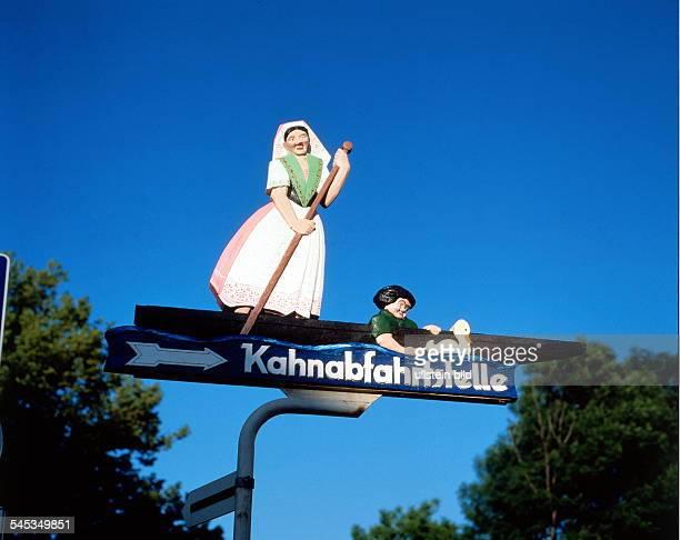 Lübbenau: Hinweisschild aus Holzzur Kahnabfahrtsstelle - 1997