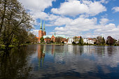 Lübeck cathedral, seen from the public park near the Mühlenteich (Schleswig-Holstein, Germany)