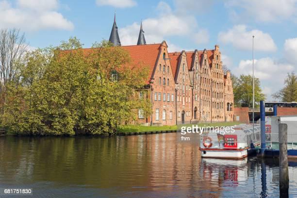 Lübeck: Historic salt store buildings near the Obertrave River (Schleswig-Holstein/ Germany)