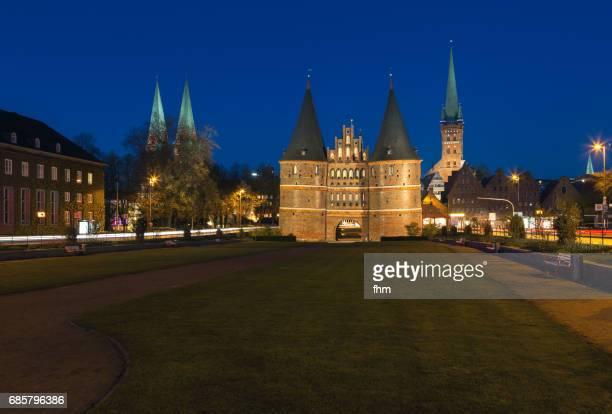 Lübeck, Holstentor at blue hour (Schleswig-Holstein, Germany)
