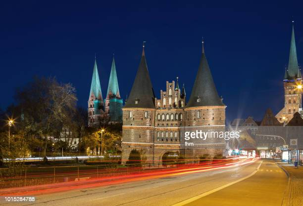 Lübeck, Holstentor at blue hour with light trails (Schleswig-Holstein, Germany)