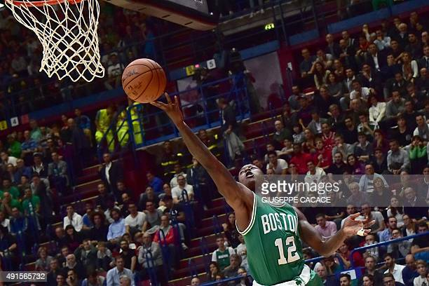 lBoston Celtic guard Terry Rozier jumps for the ball during their NBA Gloabal Games match Emporio Armani Milano VS Boston Celtic on October 6 2015 at...