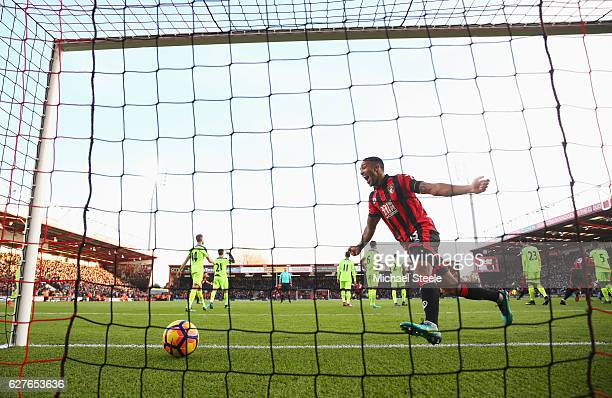 LCallum Wilson of AFC Bournemouth celebrates as Steve Cook of AFC Bournemouth scores their third goal during the Premier League match between AFC...