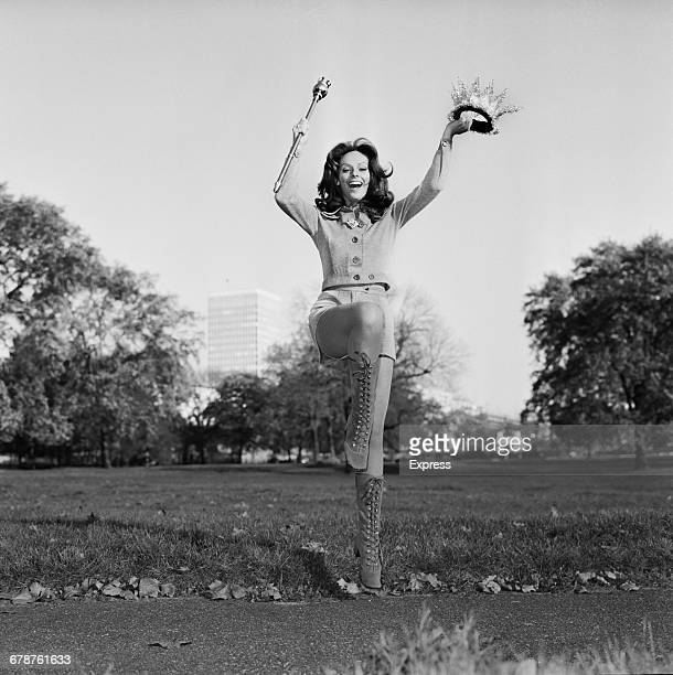 Lúcia Petterle Miss Brazil celebrating in Hyde Park the day after winning the Miss World 1971 title London UK 11th November 1971