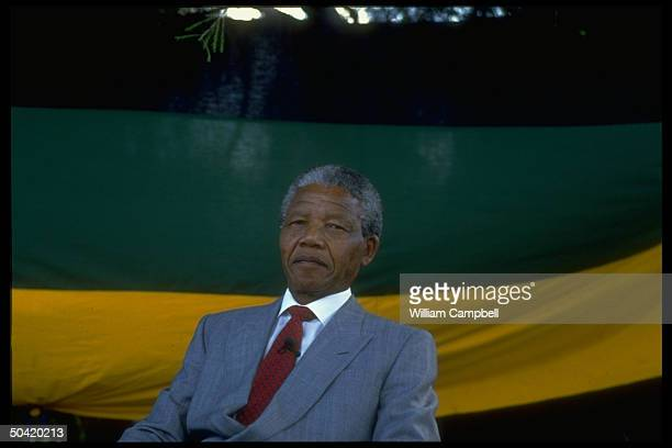 ANC ldr Nelson Mandela poised against ANC flag backdrop at ANC rally in Capetown S Africa