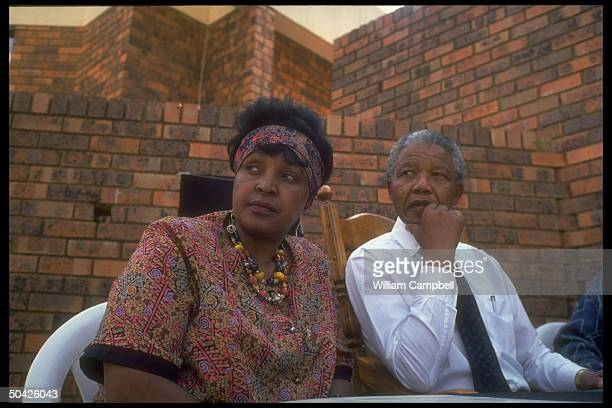 ANC ldr Nelson Mandela w wife Winnie at home Soweto S Africa