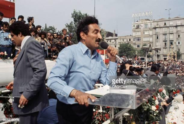 Le 1er ministre Bülent Ecevit lors d'un discours en 1979 en Turquie