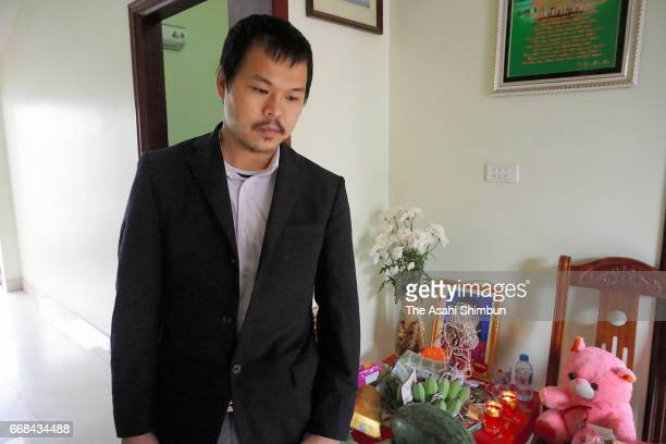Le Anh Hao, the father of Le Thi Nhat Linh, who was murdered last month, speaks to media reporters after the arrest of the suspect on April 14, 2017...