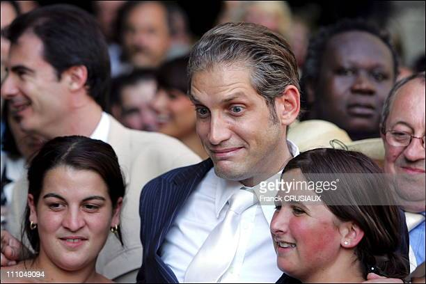 Le Bachelor at wedding of Elodie Gossuin and Bertrand Lacherie in Compiegne France on July 01st 2006