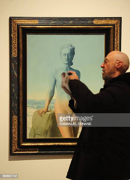 'Le Beau Navire' a painting by artist Rene Magritte is on display at Sotheby's during a preview at Sotheby's January 20 in New York The painting will...