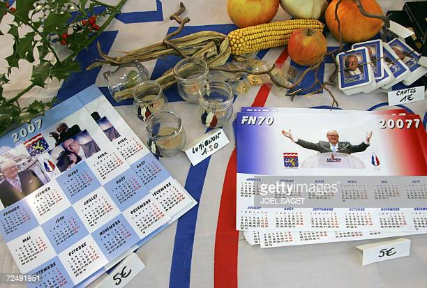 A picture taken 10 November 2006 in Le Bourget near Paris shows National Front calendars on the first day of an annual threeday meeting to support...
