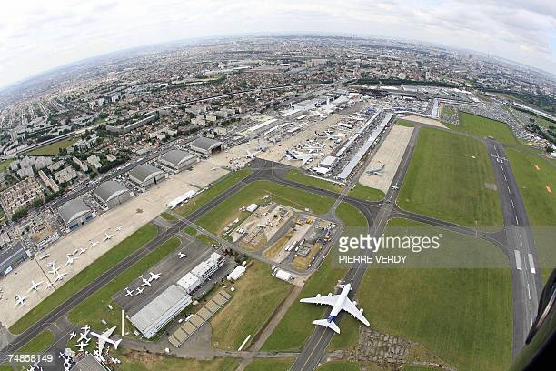 Aerial View of the Bourget airport taken with a wide angle lens during the 47th Paris International air show 20 June 2007 The Paris Air Show began on...
