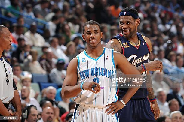 Le Bron James of the Cleveland Cavaliers and Chris Paul of the New Orleans Hornets at the New Orleans Arena on March 24, 2010 in New Orleans,...