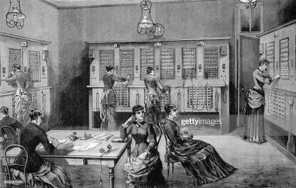 Le bureau central téléphonique de la rue lafayette à paris en 1885