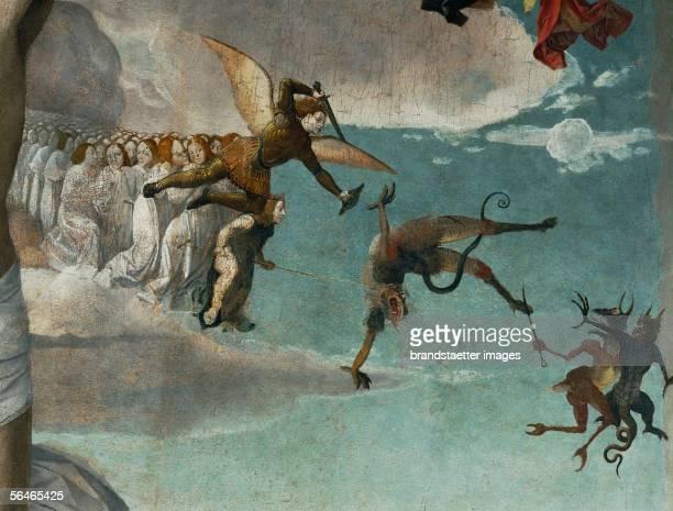 Le Calvaire Calvary The archangel Michael fighting devils Painting by Josse Lieferinxe [Golgatha Erzengel Michael kaempft mit den Teufeln Gemaelde...