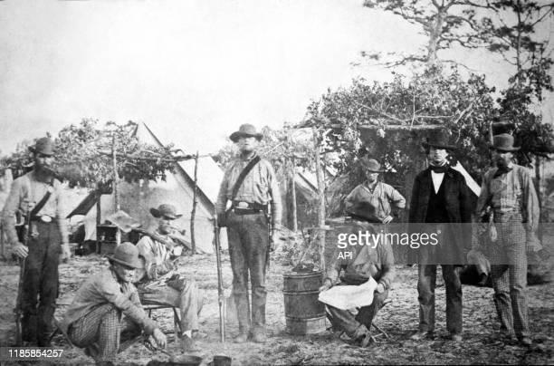 Le camp confédéré de Warrington Navy Yard, en 1861, pendant la guerre de Sécession, à Pensacola, en Floride, Etats-Unis.