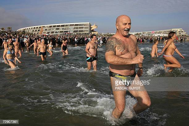Le Cap d'Agde FRANCE People enjoy a Mediterranean bath in Cap d'Adge southern France 31 December 2006 The event is organized to collect funds for...