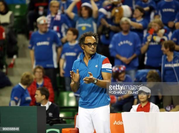 Le capitaine de l'équipe de France de coupe Davis Yannick Noah lors de la confrontation avec le Japon le 3 février 2017 à Tokyo Japon