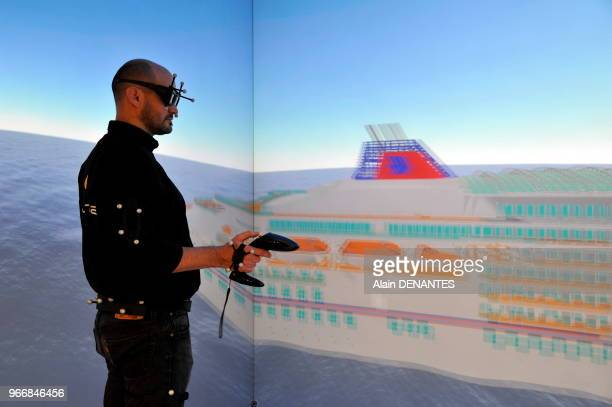 Le Centre Industriel de Realite Virtuelle lors de son inauguration le 14 Novembre 2014 a MontoirdeBretagne pres de SaintNazaire Ouest de la France Ce...
