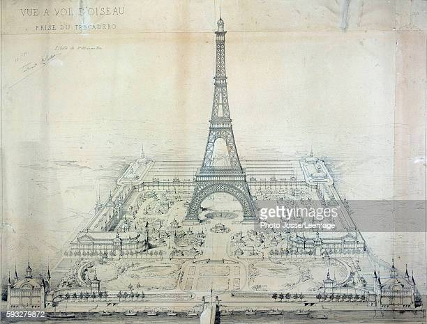 Le Champ de Mars Winning project of 1886 for the Universal Exposition of 1889 Engraving of 1886 National Archives Paris France