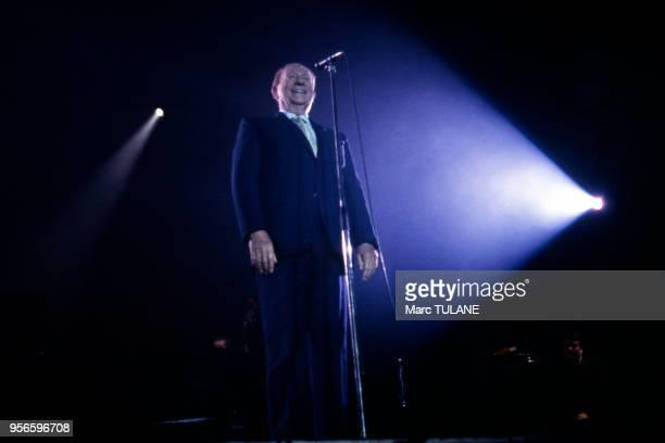 Le chanteur français Charles Trenet sur scène au ?Printemps de Bourges?, le 24 avril 1987, dans le Cher, France.