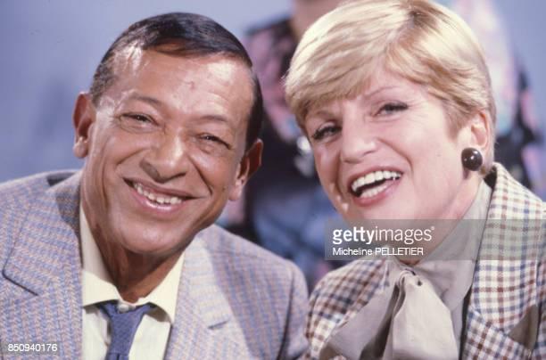 Le chanteur Henri Salvador et l'auteur dramatique Françoise Dorin le 5 octobre 1985 France